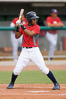 Francisco Lindor #12 of Team Red at bat against Team Blue during the USA 18U National Team Trials at the USA Baseball National Training Center on July 1, 2010, in Cary, North Carolina.  Photo by Brian Westerholt / Four Seam Images