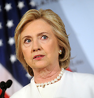 NEW YORK, NY - NOVEMBER 19: Former Secretary of State Hillary Clinton gives a speech on her approach to defeating the Islamic State terrorist network in Syria, Iraq and across the Middle East at the Council on Foreign Relations on November 19, 2015 in New York City. In the wake of the Paris attacks, for which ISIS has claimed responsibility, the Democratic front-runner for president called for more allied planes and more airstrikes on ISIS as well as an increase in U.S. Special Operations forces and trainers working with regional forces<br /> <br /> <br /> People:  Hillary Clinton