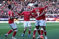 Lyle Taylor celebrates scoring Charlton's opening goal during Charlton Athletic vs Barnsley, Sky Bet EFL Championship Football at The Valley on 1st February 2020