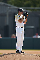 Army Black Knights relief pitcher Carter Van Gytenbeek (24) looks to his catcher for the sign against the North Carolina State Wolfpack at Doak Field at Dail Park on June 3, 2018 in Raleigh, North Carolina. The Wolfpack defeated the Black Knights 11-1. (Brian Westerholt/Four Seam Images)