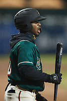 Liover Peguero (10) of the Greensboro Grasshoppers during the game against the Hickory Crawdads at First National Bank Field on May 6, 2021 in Greensboro, North Carolina. (Brian Westerholt/Four Seam Images)