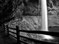 Fence underneath South Falls. Silver Falls State Park, Oregon