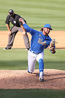 Sean Mullen (3) of the UCLA Bruins pitches against the Arizona Wildcats at Jackie Robinson Stadium on March 20, 2021 in Los Angeles, California. Arizona defeated UCLA, 7-3. (Larry Goren/Four Seam Images)