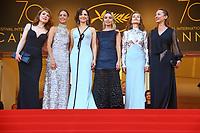 Emmanuelle Bercot, Berenice Bejo, Elodie Bouchez, Isabelle Huppert, Emilie Dequenne et Juliette Binoche sur le tapis rouge pour la soirée dans le cadre de la journée anniversaire de la 70e édition du Festival du Film à Cannes, Palais des Festivals et des Congres, Cannes, Sud de la France, mardi 23 mai 2017.