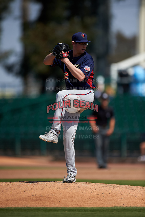 Lancaster JetHawks starting pitcher Brandon Gold (32) delivers a pitch during a California League game against the Inland Empire 66ers at San Manuel Stadium on May 20, 2018 in San Bernardino, California. Inland Empire defeated Lancaster 12-2. (Zachary Lucy/Four Seam Images)