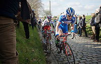 Bjorn Leukemans (BEL/Wanty-Groupe Gobert) on the Oude Kwaremont cobbles<br /> <br /> 58th E3 Harelbeke 2015