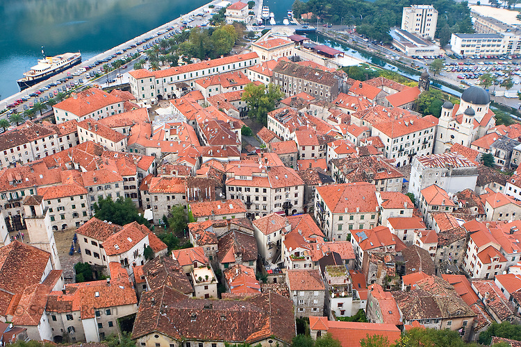 The walled, old city (Stari Grad) of Kotor, Montenegro from above