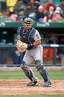 Cedar Rapids Kernels catcher David Banuelos (15) during a Midwest League game against the South Bend Cubs at Four Winds Field on May 8, 2019 in South Bend, Indiana. South Bend defeated Cedar Rapids 2-1. (Zachary Lucy/Four Seam Images)
