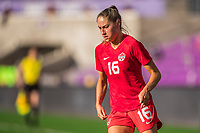 ORLANDO, FL - FEBRUARY 24: Janine Beckie #16 of the CANWNT dribble the ball during a game between Brazil and Canada at Exploria Stadium on February 24, 2021 in Orlando, Florida.