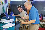 Bob Prescott & Michael Sprague Examining Olive Ridley Sea Turtle, Sanctuary Director, Welfleet Bay Wildlife Sanctuary, Audubon