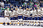 October 22, 2021; Hockey players sing the Alma Mater after a win over RIT at the Compton Family Ice Arena. (photo by Matt Cashore/University of Notre Dame)