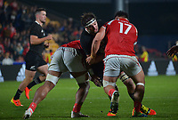 New Zealand captain  Samuel Whitelock is tackled during the Steinlager Series rugby match between the New Zealand All Blacks and Tonga at Mt Smart Stadium in Auckland, New Zealand on Saturday, 3 July 2021. Photo: Dave Lintott / lintottphoto.co.nz