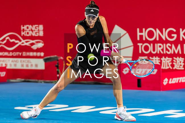 Garbine Muguruza of Spain competes against Luksika Kumkhum of Thailand during the singles quarter final match at the WTA Prudential Hong Kong Tennis Open 2018 at the Victoria Park Tennis Stadium on 12 October 2018 in Hong Kong, Hong Kong.
