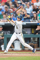 Michigan Wolverines designated hitter Dominic Clementi (13) swings the bat against the Vanderbilt Commodores during Game 2 of the NCAA College World Series Finals on June 25, 2019 at TD Ameritrade Park in Omaha, Nebraska. Vanderbilt defeated Michigan 4-1. (Andrew Woolley/Four Seam Images)