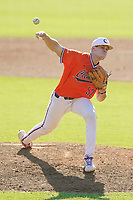 Evan Estridge (52) of the Clemson Tigers delivers a pitch in a fall Orange-Purple intrasquad scrimmage on Saturday, November 14, 2020, at Doug Kingsmore Stadium in Clemson, South Carolina. (Tom Priddy/Four Seam Images)