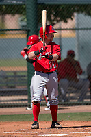 Los Angeles Angels second baseman Zane Gurwitz (71) at bat during an Extended Spring Training game against the Chicago Cubs at Sloan Park on April 14, 2018 in Mesa, Arizona. (Zachary Lucy/Four Seam Images)