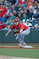 North Carolina State Wolfpack first baseman Preston Palmeiro (12) stretches for a throw during the game against the Charlotte 49ers at BB&T Ballpark on March 29, 2016 in Charlotte, North Carolina. The Wolfpack defeated the 49ers 7-1.  (Brian Westerholt/Four Seam Images)