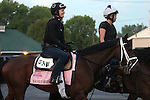 LOUISVILLE, KY - APRIL 27: Rachel's Valentina (Bernardini x Rachel Alexandra, by Medaglia d'Oro) walks to the track with her exercise rider Amy Mullen at Churchill Downs, Louisville KY, in preparation for the Kentucky Oaks.Owner Stonestreet Stables LLC, trainer Todd A. Pletcher.  (Photo by Mary M. Meek/Eclipse Sportswire/Getty Images)