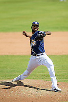 San Antonio Missions pitcher Tayron Guerrero (40) delivers a pitch to the plate during the Texas League baseball game against the Midland RockHounds on June 28, 2015 at Nelson Wolff Stadium in San Antonio, Texas. The Missions defeated the RockHounds 7-2. (Andrew Woolley/Four Seam Images)