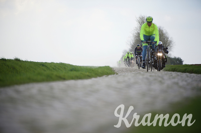 World Champion and race favourite Peter Sagan (SVK/Tinkoff) & teammates during recon of the 114th Paris - Roubaix 2016