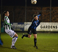 20131213 - VARSENARE , BELGIUM : Brugge's Christine Saelens (right) pictured with Zwolle's Judith Frijlink (left) during the female soccer match between Club Brugge Vrouwen and PEC Zwolle Ladies , of  matchday 14  in the BENELEAGUE competition. Friday 13th December 2013. PHOTO DAVID CATRY