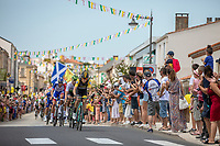 Robert Gesink (NED/LottoNL-Jumbo) leading the peloton through town <br /> <br /> Stage 1: Noirmoutier-en-l'Île > Fontenay-le-Comte (189km)<br /> <br /> Le Grand Départ 2018<br /> 105th Tour de France 2018<br /> ©kramon