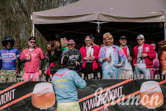 Partying by the side of the road<br /> <br /> 8th Gent-Wevelgem In Flanders Fields 2019 <br /> Elite Womens Race (1.WWT)<br /> <br /> One day race from Ypres (Ieper) to Wevelgem (137km)<br /> ©JojoHarper for Kramon
