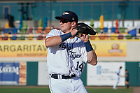 Lakeland Flying Tigers Brock Deatherage (14) during warmups before a Florida State League game against the Palm Beach Cardinals on May 22, 2019 at Publix Field at Joker Marchant Stadium in Lakeland, Florida.  Palm Beach defeated Lakeland 8-1.  (Mike Janes/Four Seam Images)