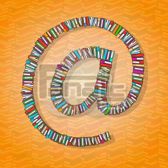 Top view of books arranged in 'at' symbol over colored background depicting online learning