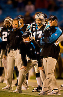 Carolina Panthers head coach John Fox at Bank of America Stadium in Charlotte, NC. Photo from the Carolina Panthers' 20-9 loss to the Buffalo Bills in Charlotte on Sunday, Oct. 25, 2009. Professional American NFL football team The Carolina Panthers represents North Carolina and South Carolina from its hometown of Charlotte, NC. The Carolina Panthers are members of the NFL's National Football Conference South Division. The Charlotte professional football team began playing in Charlotte in 1995 as an expansion team.  The Carolina Panthers play in Bank of America Stadium, formerly known as Carolinas Stadium and Ericsson Stadium.