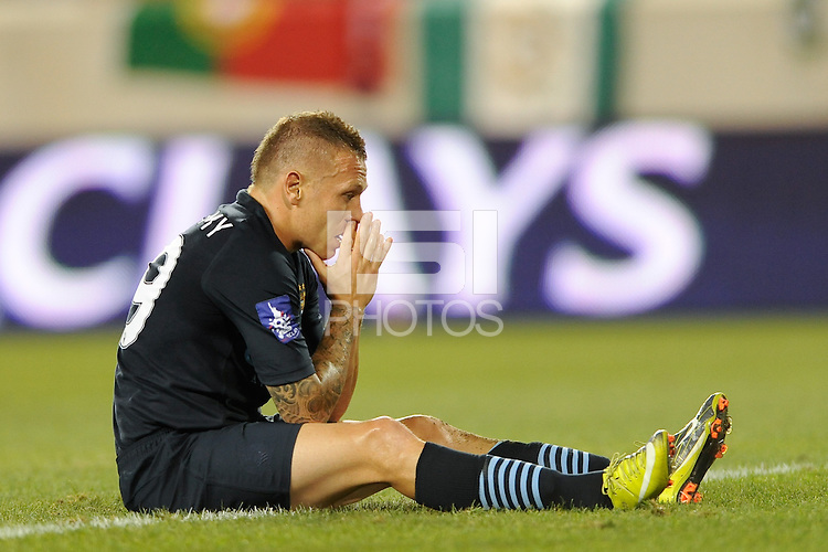 Craig Bellamy (39) of Manchester City F. C. reacts to a missed scoring opportunity during a Barclays New York Challenge match between Manchester City F. C. and Sporting Clube de Portugal (Sporting Lisbon) at Red Bull Arena in Harrison, NJ, on July 23, 2010.