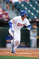 Buffalo Bisons second baseman Ryan Goins (11), on rehab assignment from the Toronto Blue Jays, at bat during a game against the Norfolk Tides on July 18, 2016 at Coca-Cola Field in Buffalo, New York.  Norfolk defeated Buffalo 11-8.  (Mike Janes/Four Seam Images)