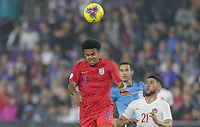 ORLANDO, FL - NOVEMBER 15: Weston McKennie #8 of the United States heads a ball during a game between Canada and USMNT at Exploria Stadium on November 15, 2019 in Orlando, Florida.