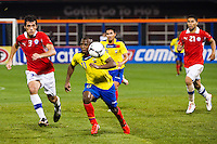 Cristian Benitez (11) of Ecuador is chased by Marcos Gonzalez (3) of Chile. Ecuador defeated Chile 3-0 during an international friendly at Citi Field in Flushing, NY, on August 15, 2012.