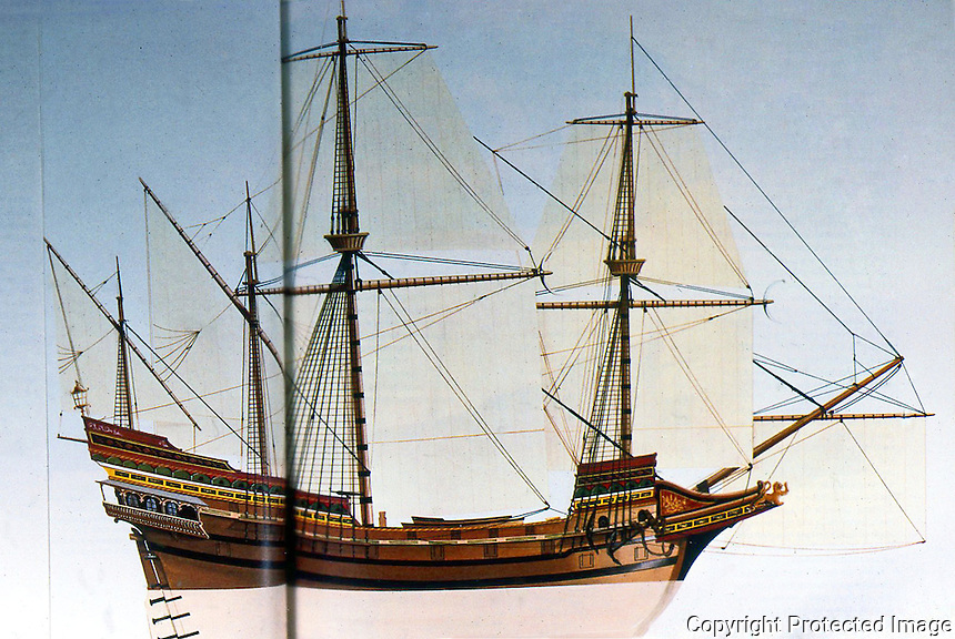 Ships:  Spanish Treasure Galleon, late 16th century. 125 ft. with 35 ft. beam, 500 tons.  Top speed about 8 knots.