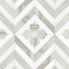Maharaja 2, a waterjet stone mosaic shown in honed Thassos and polished Calacatta Tia, is part of the Silk Road® collection by New Ravenna.