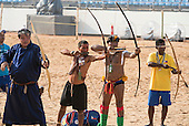 Archers from Mongolia and the Philippines practice with Matis and Kamayura archers from Brazil at the International Indigenous Games, in the city of Palmas, Tocantins State, Brazil. Photo © Sue Cunningham, pictures@scphotographic.com 28th October 2015