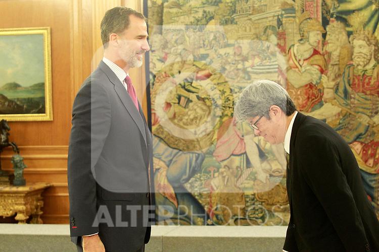 King Felipe VI of Spain with the President of Japanese employer Nippon Keidanren Yoshio Sato. July 6, 2017. (ALTERPHOTOS/Acero)
