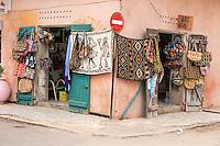 Senegal, Saint Louis.  Souvenir Shop on Street Corner.
