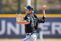 Coastal Carolina Chanticleers starting pitcher Tyler Herb (27) in action against the High Point Panthers at Willard Stadium on March 15, 2014 in High Point, North Carolina.  The Chanticleers defeated the Panthers 1-0 in the first game of a double-header.  (Brian Westerholt/Four Seam Images)