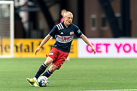 FOXBOROUGH, MA - MAY 12: Connor Presley #7 of New England Revolution II passes the ball during a game between Union Omaha and New England Revolution II at Gillette Stadium on May 12, 2021 in Foxborough, Massachusetts.