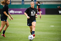 TACOMA, WA - JULY 31: Eugenie Le Sommer #9 of the OL Reign warms up before a game between Racing Louisville FC and OL Reign at Cheney Stadium on July 31, 2021 in Tacoma, Washington.