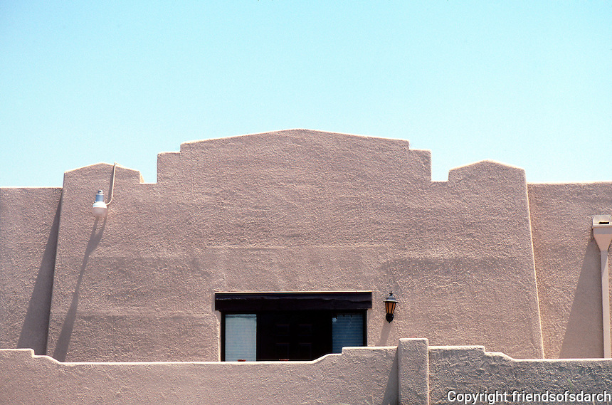 Mission RR Stations: Santa Fe Station, Porterville--detail, roofline to left of entrance. (Less California Mission style than New Mexico style.)  Photo 2000.