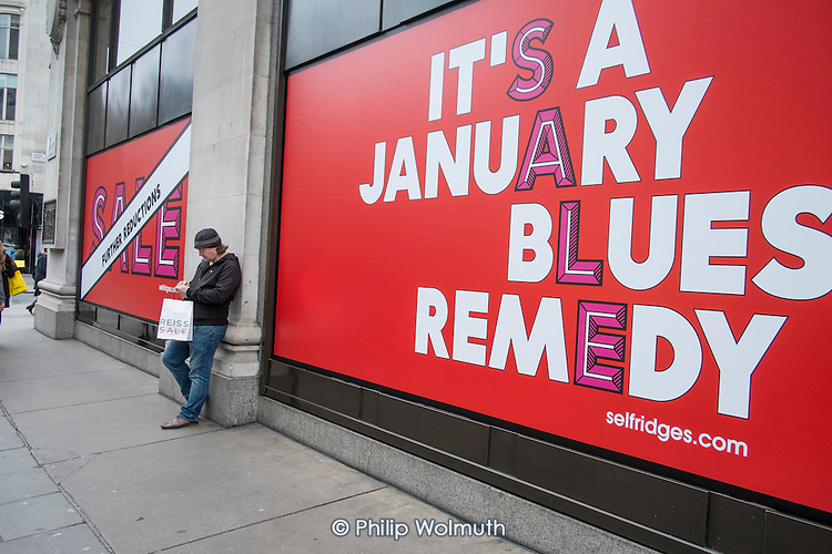 Selfridges, January sales, Oxford Street, London.