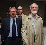 EZIO MAURO, ROBERTO SAVIANO ED EUGENIO SCALFARI<br /> MOSTRA TULLIO PERICOLI     ARA PACIS ROMA 2010
