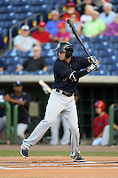 Tampa Yankees shortstop Tyler Wade (17) at bat during a game against the Clearwater Threshers on April 21, 2015 at Bright House Field in Clearwater, Florida.  Clearwater defeated Tampa 3-0.  (Mike Janes/Four Seam Images)