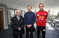 Pictured: Club chairman Huw Jenkins (C) and manager Garry Monk (R). Friday 07 March 2014<br /> Re: Opening of the new training facility for Swansea City Football Club at Fairwood in the outskirts of the south Wales city.