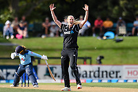 23rd February 2021, Christchurch, New Zealand;  Hannah Rowe of New Zealand appeals for a wicket during the 1st ODI Cricket match, New Zealand versus England, Hagley Oval, Christchurch, New Zealand