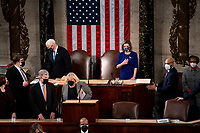 House Speaker Nancy Pelosi and Vice President Mike Pence preside over a Joint session of Congress to certify the 2020 Electoral College results on Capitol Hill in Washington, DC on January 6, 2020.<br /> Credit: Erin Schaff / Pool via CNP/AdMedia