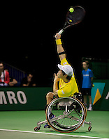 Rotterdam, The Netherlands. 15.02.2014. Shingo Kunieda(JPN) in his match against Stephane Houdet(FRA) at the ABN AMRO World Wheelchair tennis Tournament<br /> Photo:Tennisimages/Henk Koster